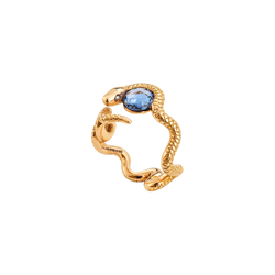 A central blue sapphire surrounded by a writhing snake with diamonds eyes in 18 karat rose gold by Solange Azagury-Partridge