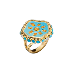 A plaque ring composed of a sun shaped yellow sapphire set into turquoise with diamond and turquoise surrounded in 18 karat yellow gold by Solange Azagury-Partridge