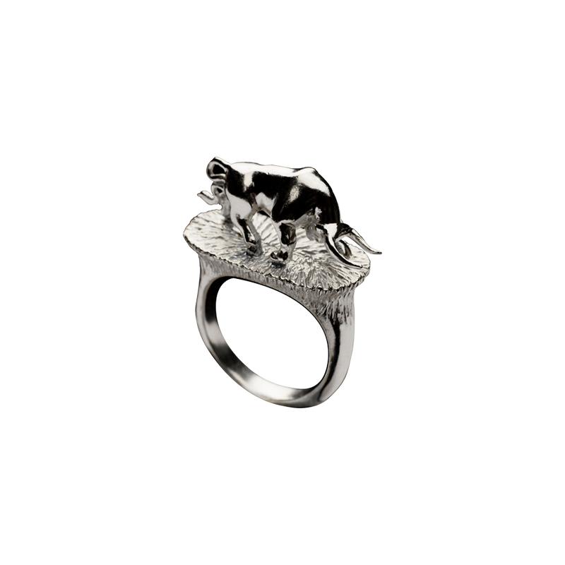 A taurus motif ring in 18 karat white gold by Solange Azagury-Partridge
