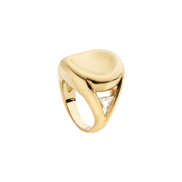 A 18 karat yellow gold ring with concave top and two triangular diamonds  into two triangle hole on the side by Solange Azagury-Partridge