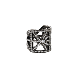 An open work ring set with brilliant and rose cut Diamonds in blackened 18 karat white gold by Solange Azagury-Partridge