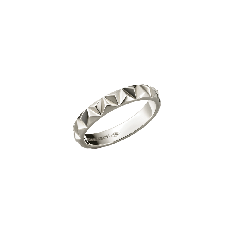 A raised triangular motif patterned ring in 18 karat white gold by Solange Azagury-Partridge