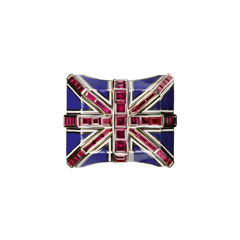 Union Jack Ruby Enamel Ring