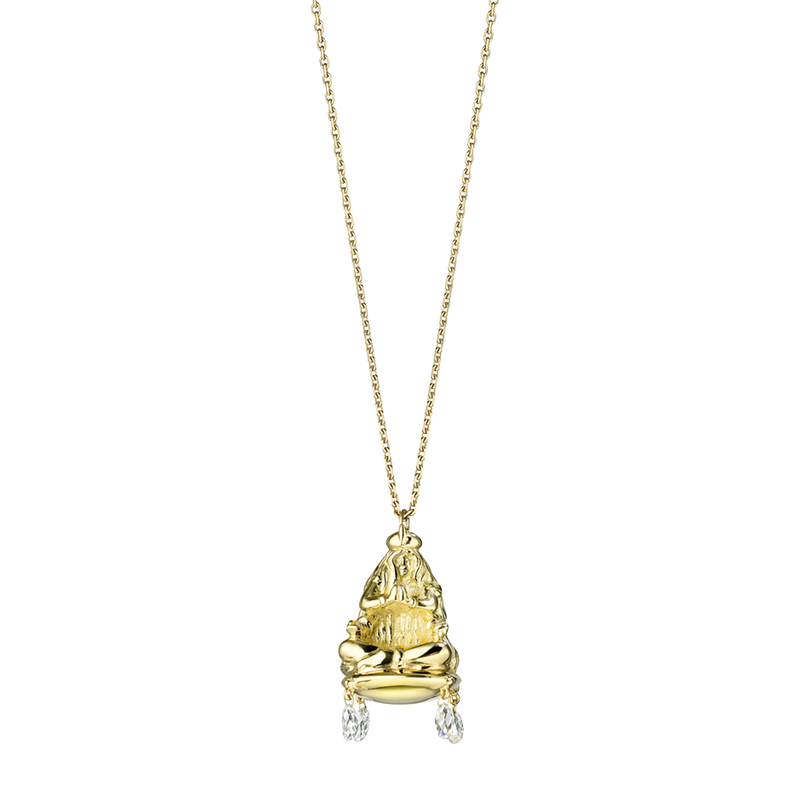 A zodiac virgo motif pendant composed of figure of a woman seated on a cushion with briolette diamond drops in 18 karat yellow gold by Solange Azagury-Partridge