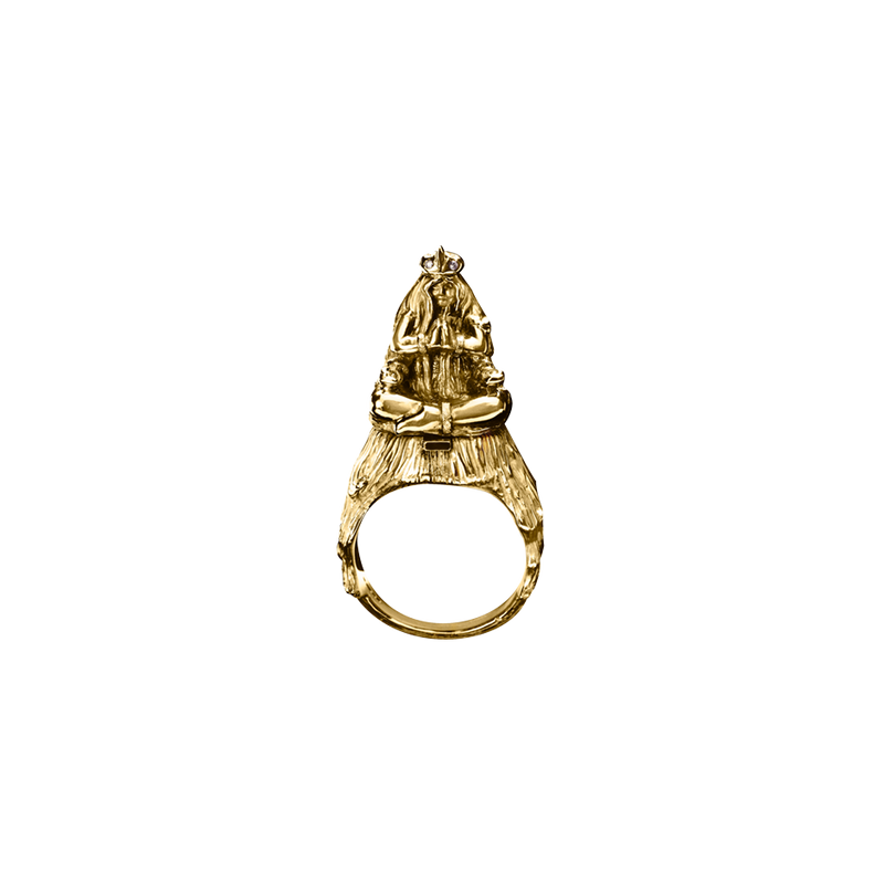 A zodiac virgo motif ring composed of figure of a woman seated in 18 karat yellow gold by Solange Azagury-Partridge