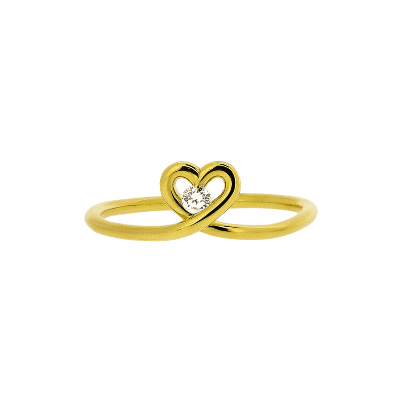 Cute Little Heart Diamond Ring