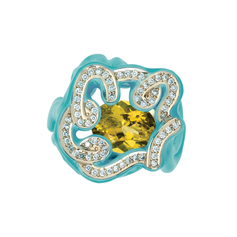 Scribbles Yellow & Baby Blue Ring