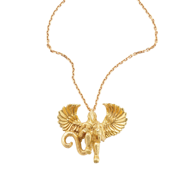 A hybrid monkey parrot necklace in 18 karat yellow gold by Solange Azagury-Partridge