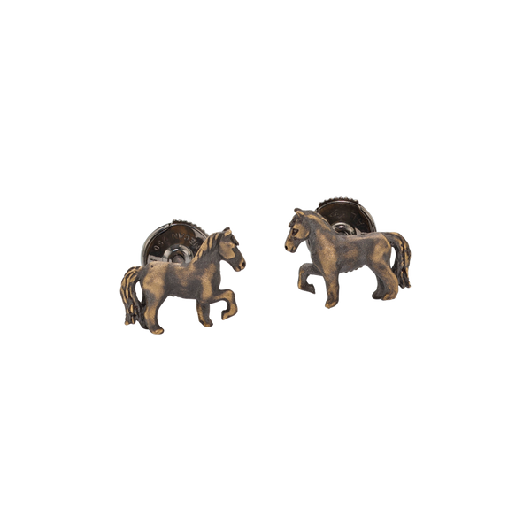 A horse motif stud earrings in blackened 18 karat yellow gold by Solange Azagury-Partridge