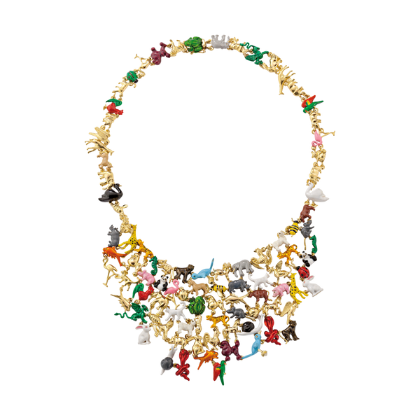 A menagerie motif necklace with all the animals from the chinese zodiac in lacquered 18 karat yellow gold by Solange Azagury-Partridge