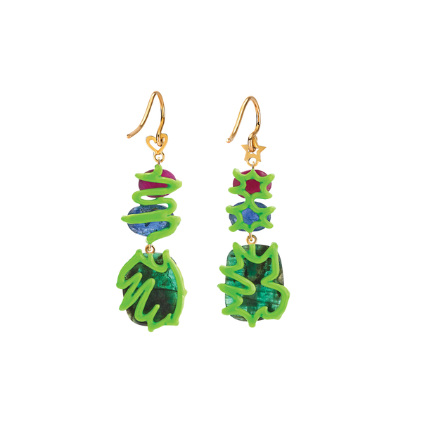 Scribbles Blue Green & Red Earrings