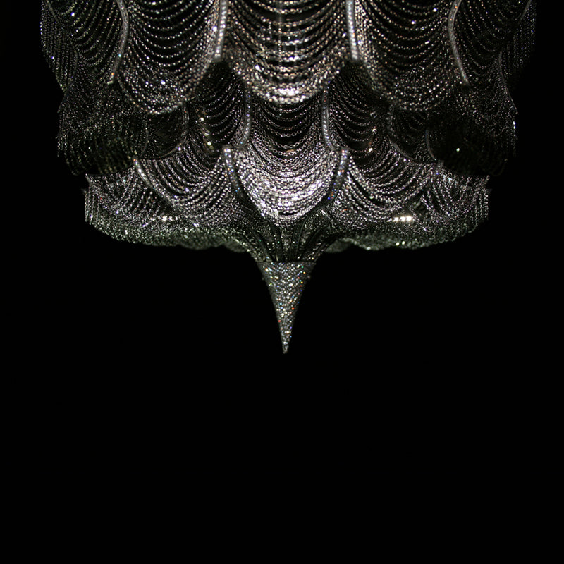 One of a kind diamond and blackened 18 karat white gold chandelier with linked fringe by Solange Azagury-Partridge