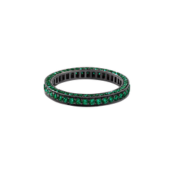 A eternity ring set on three sides with brilliant cut emeralds in blackened 18 karat white gold by Solange Azagury-Partridge