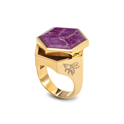 Hexy Carved Ruby Ring