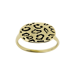 A leopard plaque ring in blackened 18 karat yellow gold by Solange Azagury-Partridge