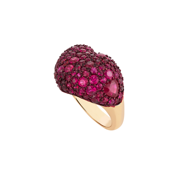 A love heart ring set with rubies pavé and red ceramic plate in 18 karat rose gold ring by Solange Azagury-Partridge