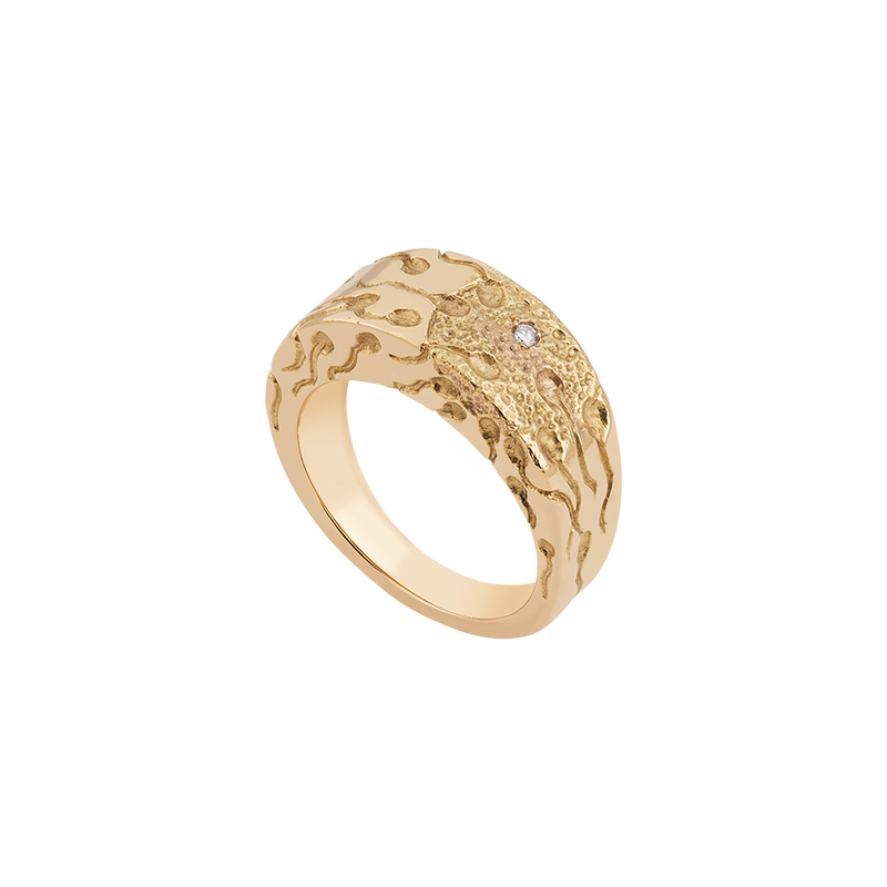 A ring with miracle of conception engraved with a round brilliant cut diamond as a zygote set in 18 karat yellow gold by Solange Azagury-Partridge