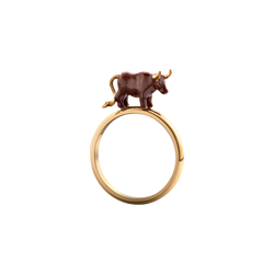 A chinese zodiac lacquered ox ring in 18 karat yellow gold by Solange Azagury-Partridge