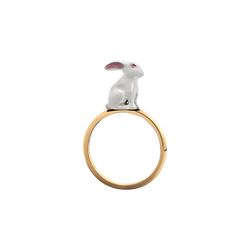 A chinese zodiac lacquered rabbit ring in 18 karat yellow gold by Solange Azagury-Partridge