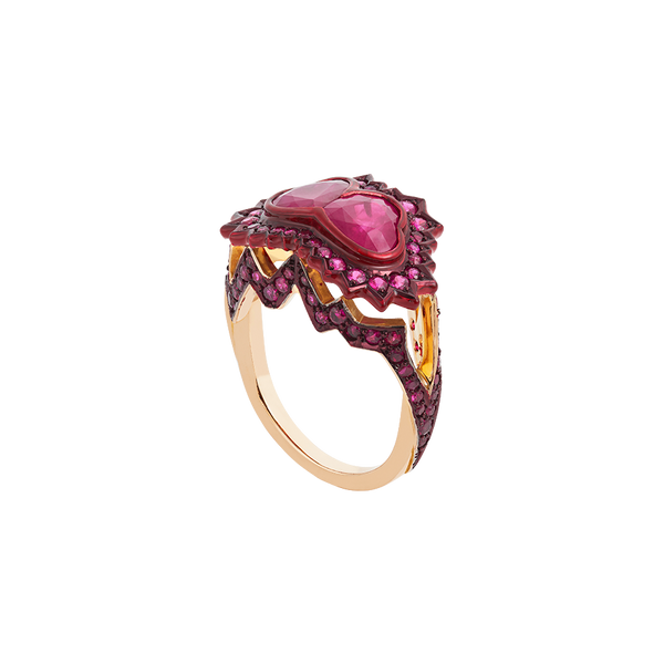 A ring composed of two heart shaped rubies supported by pavé set ruby heartbeat with red lacquer and ceramic plate set in 18 karat rose gold by Solange Azagury-Partridge