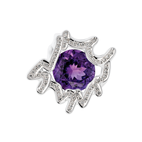 Scribbles White & Purple Ring