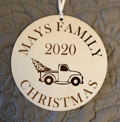 Custom Engraved Wood Ornament / Personalized With family Name