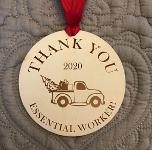Engraved Wood Ornament / Thank You Essential Worker