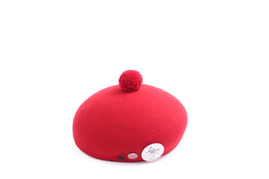 HAT WITH POM POM RED