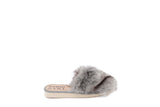 Faux fur SLIPPERS silver