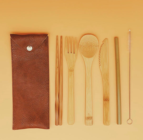 Vegan Leather Reusable Utensils Pouch