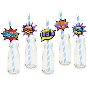 25 Super Hero Word Bubble Straws