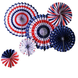 Red White & Blue Paper Fan Decoration