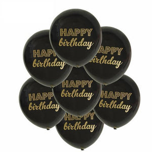 Black & Gold Happy Birthday Balloons