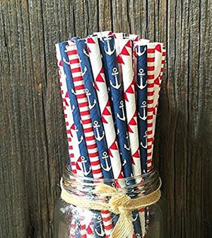 Mixed Nautical Straws