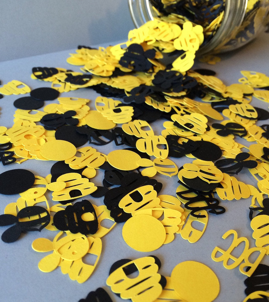 Yellow and Black Bee Party Confetti