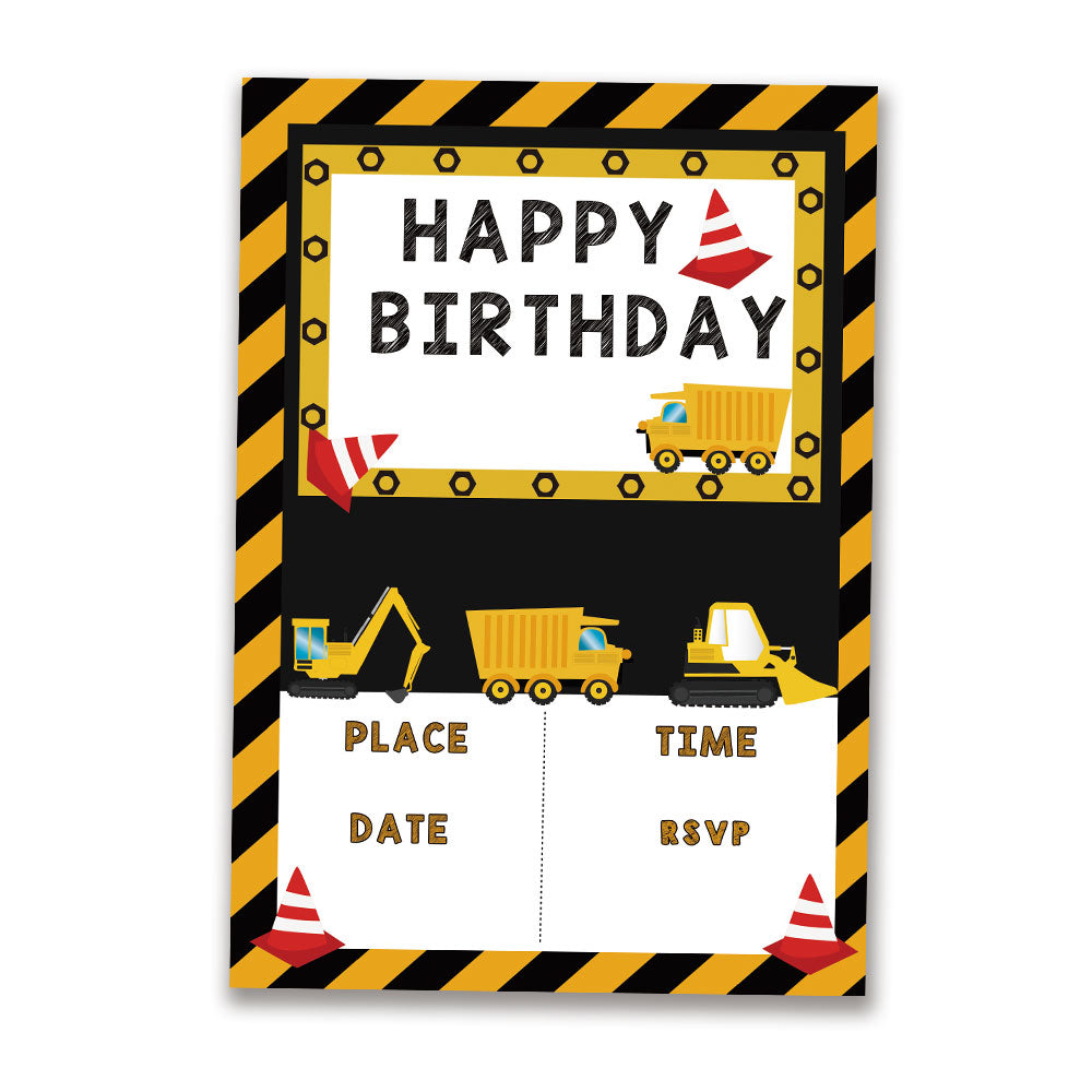 Construction Theme Invitations