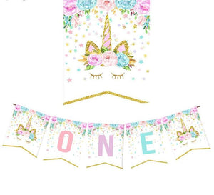 1st Birthday Unicorn Birthday Party Banner
