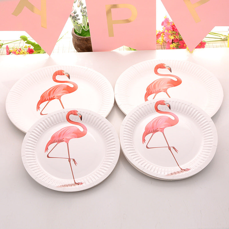 Flamingo White Disposable Plates & Cups
