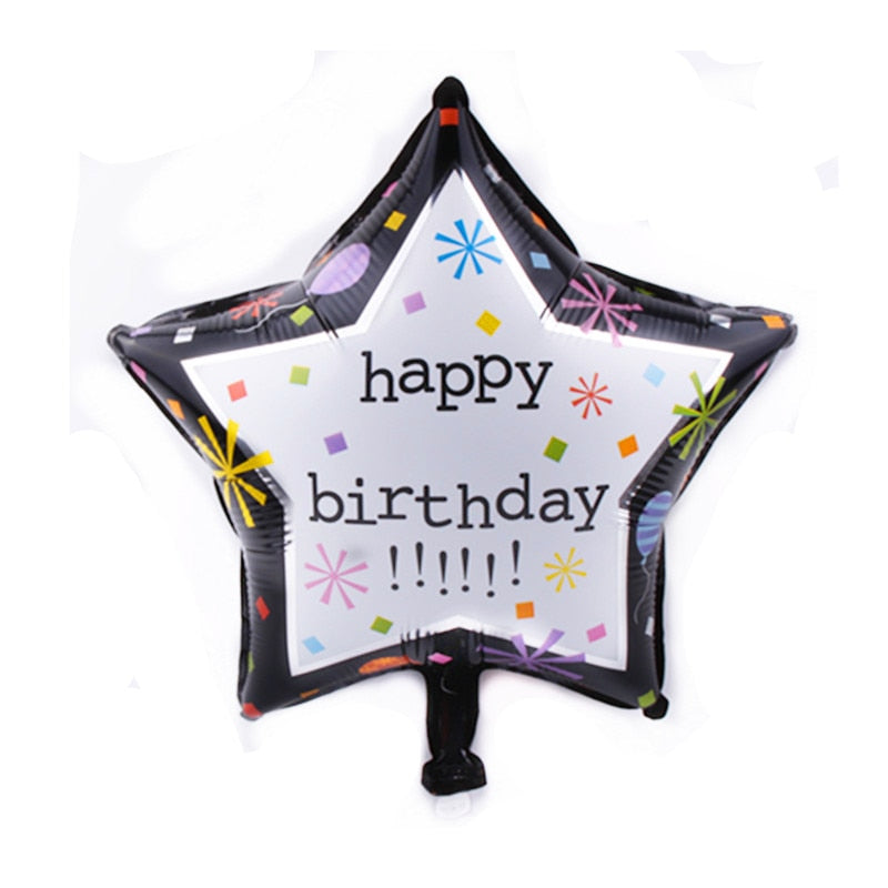 Black & White Star Happy Birthday Balloon