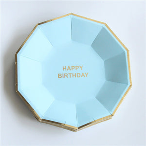 baby blue and gold paper plate