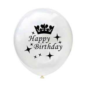 Black & White Happy Birthday Balloons