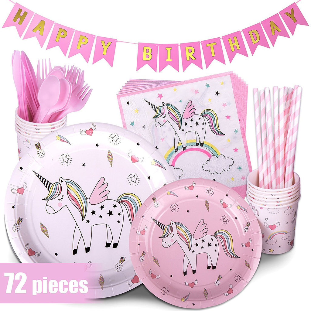Pink Theme Unicorn Birthday Party Supplies