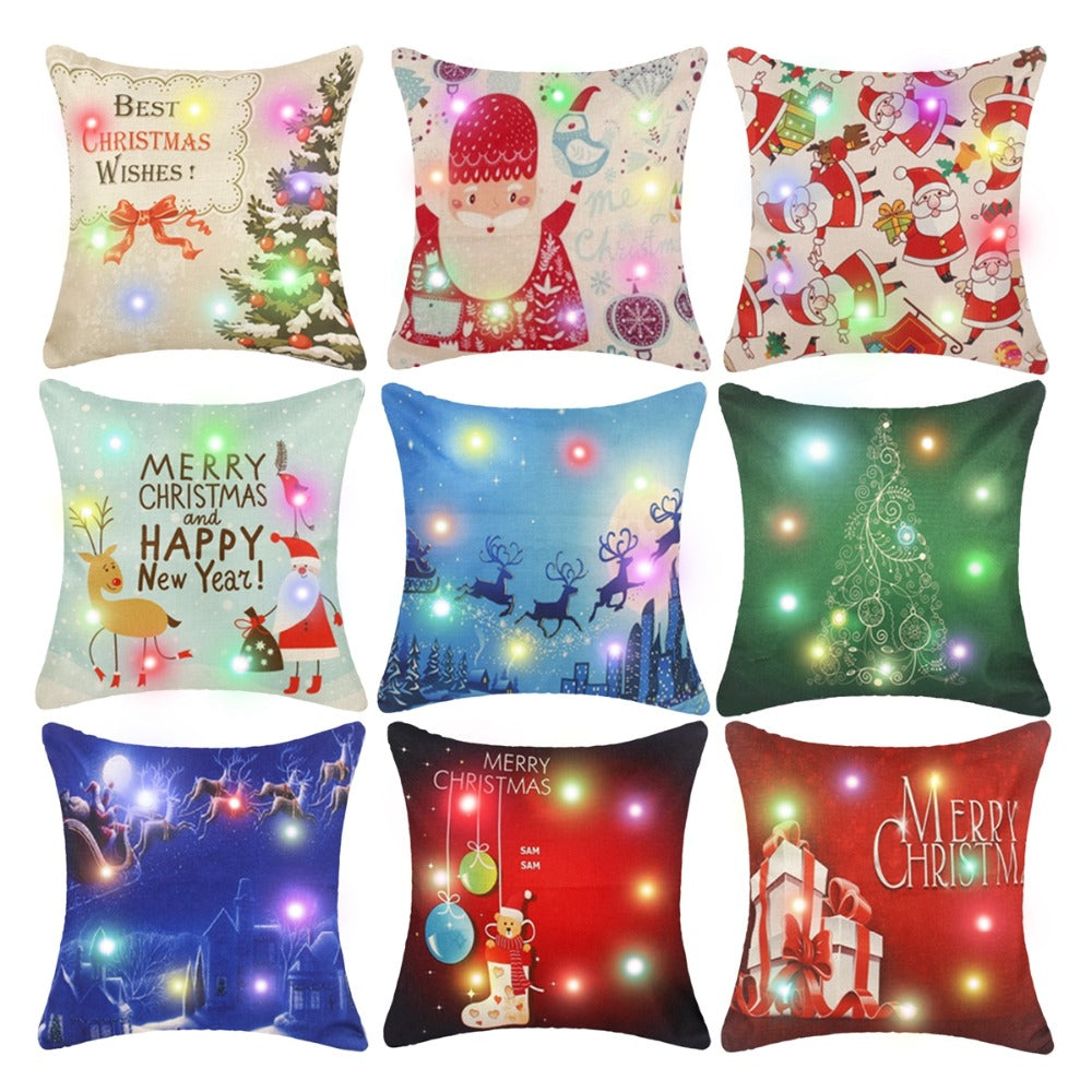 Christmas Pillow Cases With LED Lights