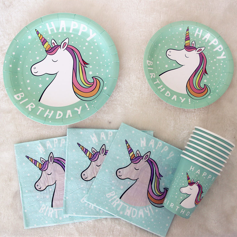 Turquoise Unicorn Birthday Party Supplies