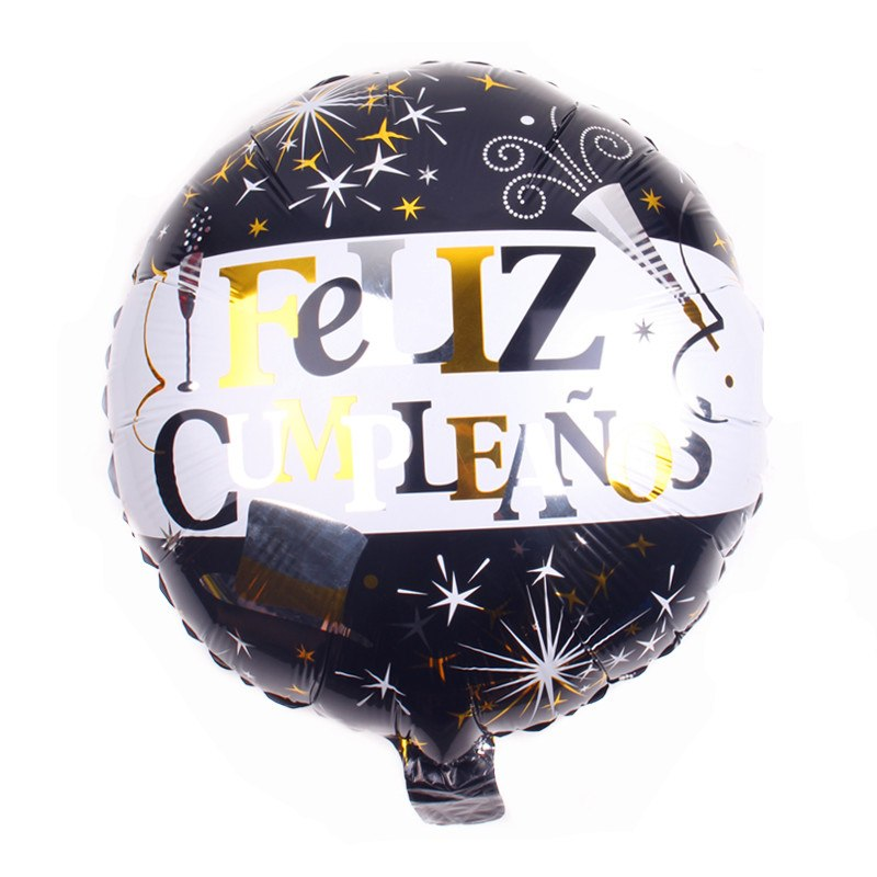 Black & Gold Feliz Cumpleanos Balloon