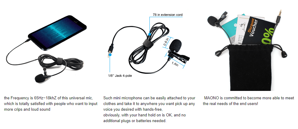 Lavalier Microphone Hands Free Clip-on Lapel Mic Maono AU-402 for Sale Online.