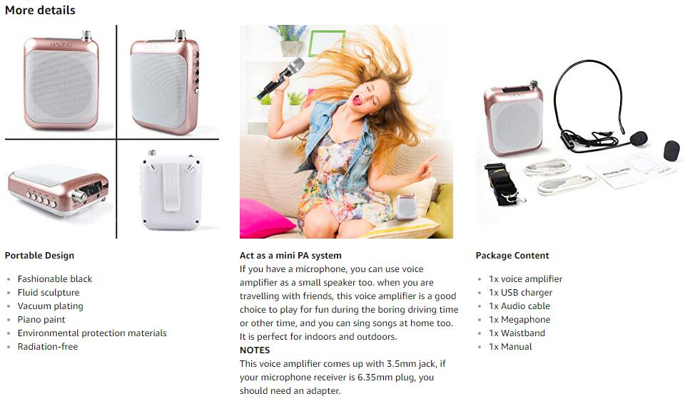 Portable Voice Amplifire Maono C01 with Waistband Microphone for  for Coaches, Tour Guides, Kindergartener, Promotion, Meeting.