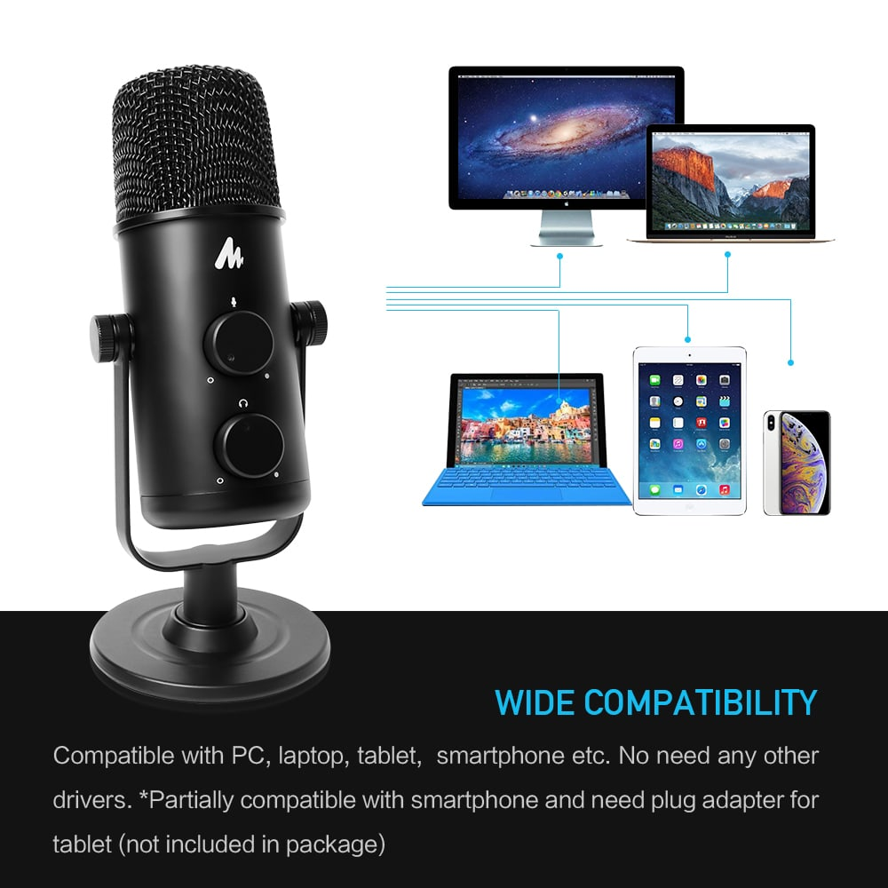 360° Adjustable Cardioid Omnidirectional Microphone MAONO AU-903 for PC Laptop Tablet Use.
