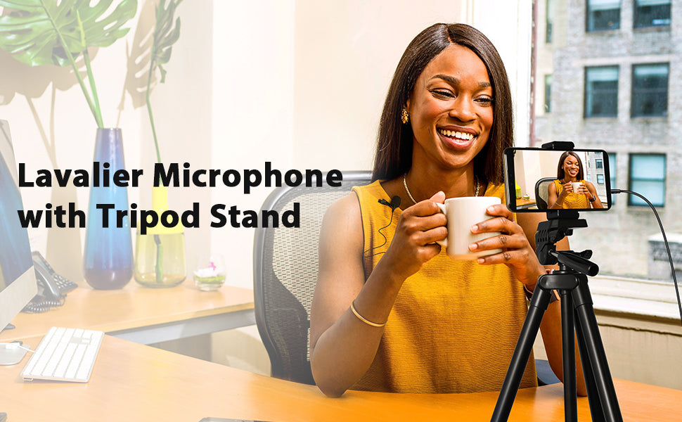 Lapel microphone with phone tripod