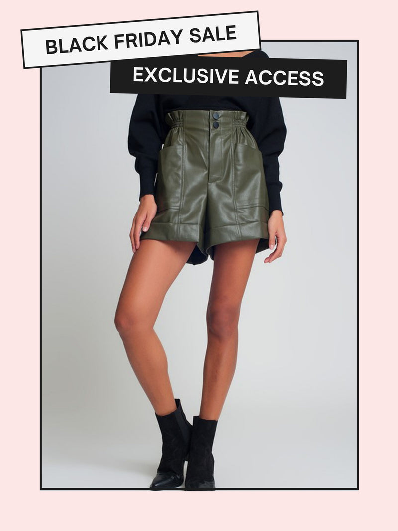 So Plush Faux Leather Shorts | Olive